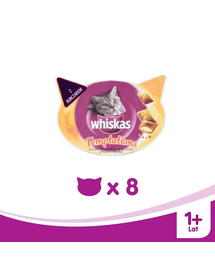 WHISKAS Temptations Jutalomfalat csirke-sajt 8 x 60 g