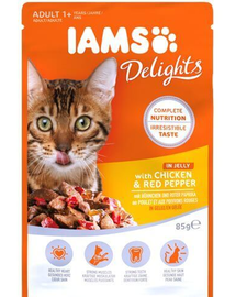 IAMS Delights Adult with Chicken & Red Pepper in Jelly 85 g
