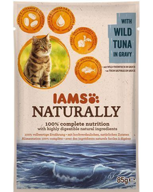 IAMS Naturally Adult Cat with Wild Tuna in Játékvy 85 g