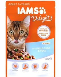 IAMS Cat Adult All Breeds Tuna & Peas In Gravy 85 g