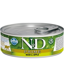 N&D Cat prime boar & apple 80 g